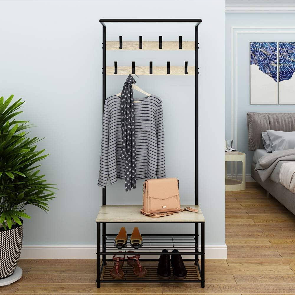 YUSONG Porte-Manteaux Robuste avec 3 /étag/ères de Rangement et 9 Crochets en m/étal pour Couloir Chambre /à Coucher Salon