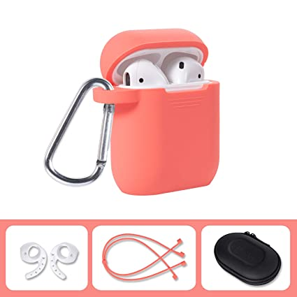 best website 8973d 61fc8 Airpods Accessories Set, Filoto Airpods Waterproof Silicone Case Cover with  Keychain/Strap/Earhooks/Accessories Storage Travel Box for Apple Airpod ...
