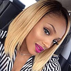 Ombre Lace Front Wig Silky Straight Human Hair Blonde Bob Full Lace Wigs for Black Women 1B/27 Blonde with Dark Roots Baby Hair (14 inch with 150% density, Full Lace Wig)