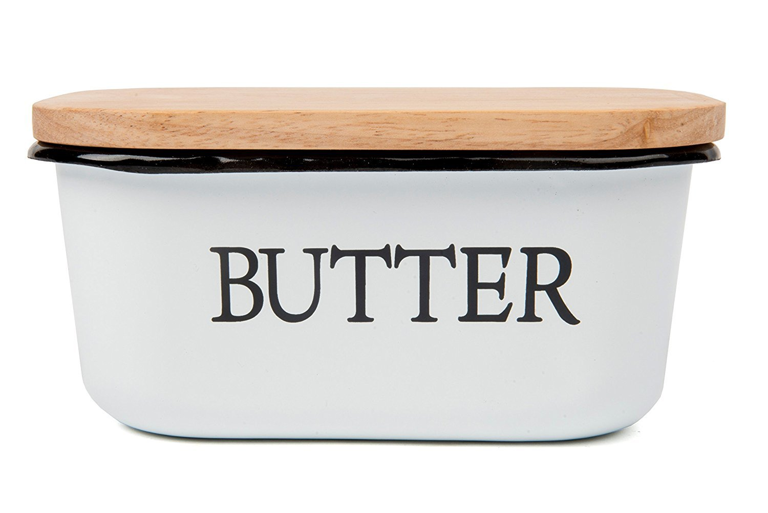 Butter Dish- Enamel Butter Boat with Wooden Lid-Quality & Elegant Design Holds Up To 1 Pound Of Butter PalkSky