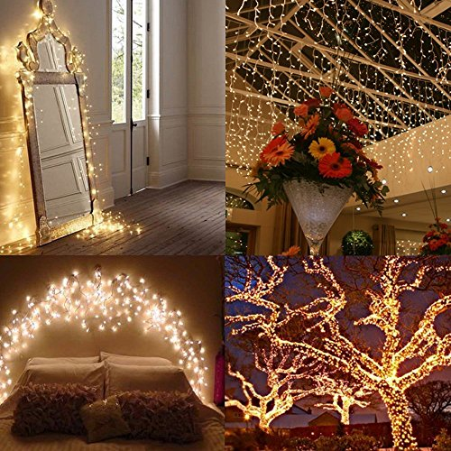 AMIR Solar Powered String Lights 150 LED, 2 modos Luces continuas de encendido /flash de alambre de cobre, Luces estrelladas para interiores /exteriores, Luces solares a prueba de agua para jardines, casas, fiestas (blanco cálido)