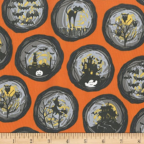 Michael Miller Bats & Black Stray Cat Strut If You've Got It, Haunt It Orange Fabric by The Yard -