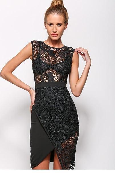 Amazon.com: New Arrivals 2015 Women Dresses Overlap Hemline Cute White/Black Lace Mini Dress Sexy Summer Style Vestido Encaje LC22028: Clothing