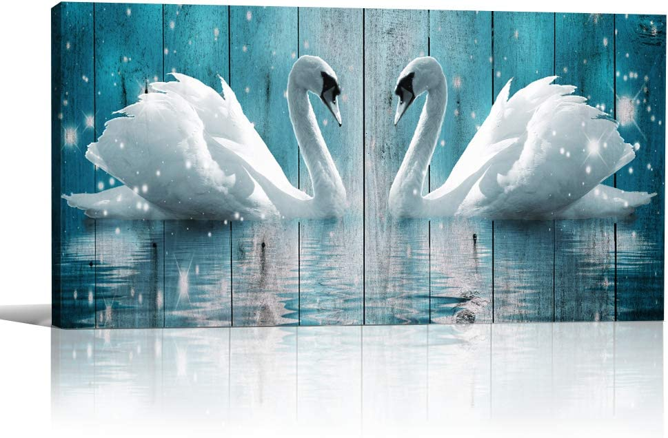 Wall Art for Living Room Canvas Wall Decorations for Bathroom Modern Wall Decor Family Bedroom Wall Pictures Two Swans Artwork Kitchen Office Home Decoration Abstract Painting