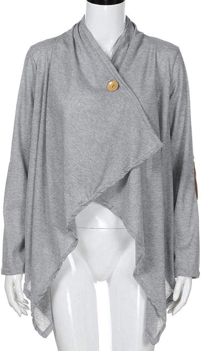 Poncho Donna Primaverile Scialle Eleganti Autunno della Moda Vintage Casuale Completi alla Moda Comodo Capa Manica Lunga con Button Irregolare Asimmetrico Patchwork Cappotto Outerwear
