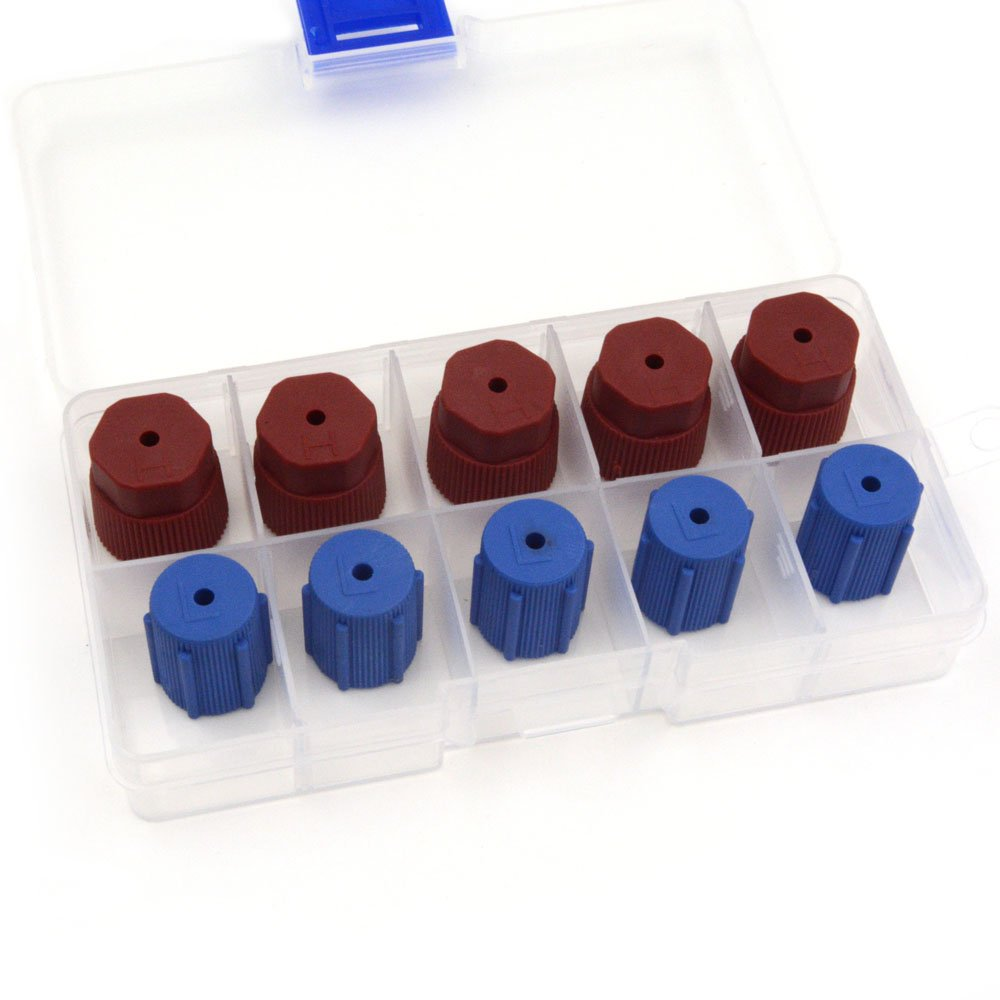Nikauto 10Pcs Blue&Red High Low Pressure Car Air Conditioning Service Valve Fitting Caps