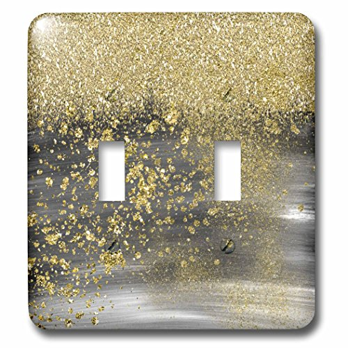Brushstroke Finish - 3dRose Anne Marie Baugh - Sparkle - Black Watercolor Brush Stroke Background With A Gold Glitter Overlay - Light Switch Covers - double toggle switch (lsp_263572_2)