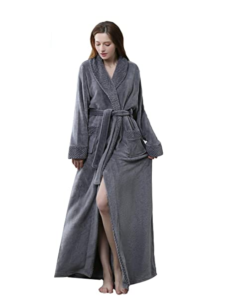 3a5b98d97ca Chichidog Ladies Soft Flannel Dressing Gown Fleece Bathrobe Full Length  Loungewear  Amazon.co.uk  Clothing