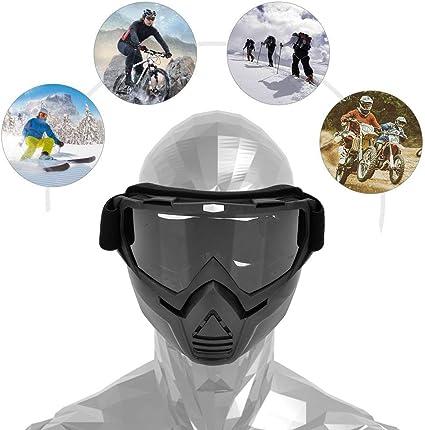 Alomejor Motorrad Helmbrille Einstellbare Abnehmbare Reitbrille Brille Gesichtsmaske Für Männer Frauen Grau Sport Freizeit