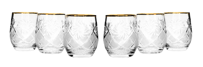 Set of 6 Neman Glassworks, 7-Oz Gold Rim Russian Crystal Beverage Glasses