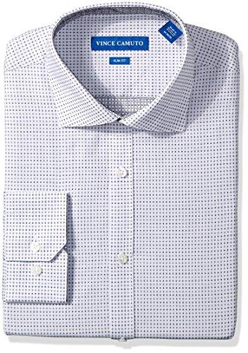 - VINCE CAMUTO Men's Slim Fit Neat Square Dobby Dress Shirt, Black/Grey, 15 34/35
