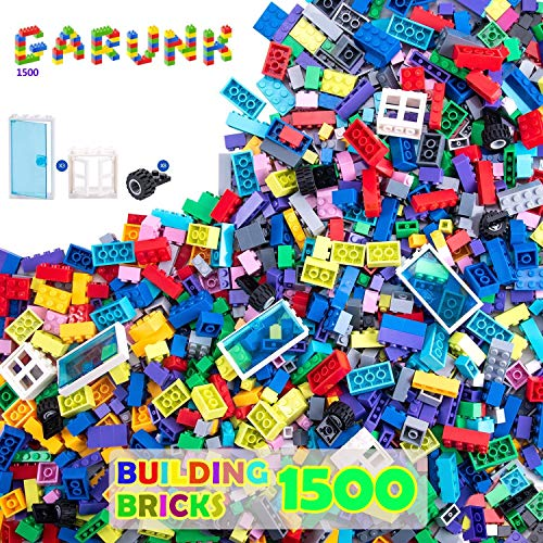GARUNK 1500 Pieces Building Bricks for Kids, 1500 Pcs Building Blocks with Wheels, Tires, Axles, Doors and Windows, Compatible with All Major Brands for Ages 3 4 5 6 7 8 9 10 Year Old Boys & Girls
