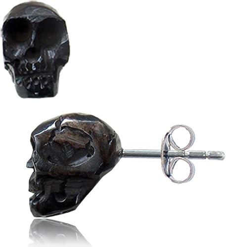 Amazon Com Organic Hand Carved Black Bone 3d Skull Stainless Steel Post Stud Earrings Jewelry
