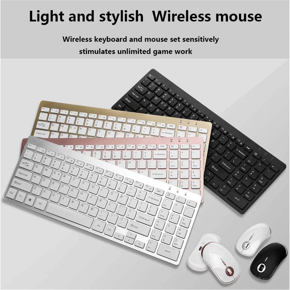 YYZLG Wireless Keyboard and Mouse Set Office Home Tablet USB Ultra-Thin Portable Silent Wireless Keyboard-Black