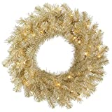 48'' White/Gold Tinsel Wreath 100 Warm White LED Lights