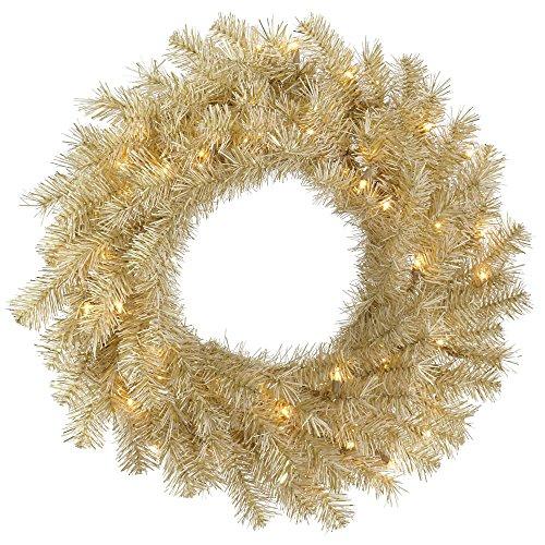 Vickerman Pre-Lit Tinsel Wreath with 50 Clear Mini Dura-Lit Lights, 24-Inch, White Gold
