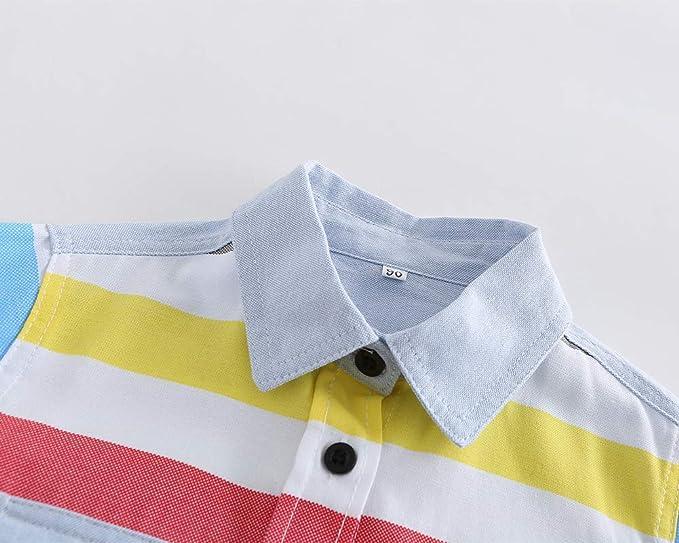 DianShaoA Camicia A Maniche Corte per Bambini E Bimbo Camicie Striscia Colorata Cotone Camicetta T-Shirt Top