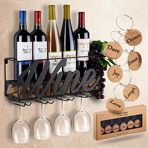 Room Kitchen Wine Racks (Wall Mounted Wine Rack | Bottle & Glass Holder | Cork Storage Store Red, White, Champagne | Come with 6 Cork Wine Charms | Home & Kitchen Décor | Storage Rack | Designed by Anna Stay,Wine)