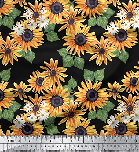 Soimoi Black Cotton Cambric Fabric Leaves & Sunflower Floral Printed Fabric 1 Yard 42 Inch Wide