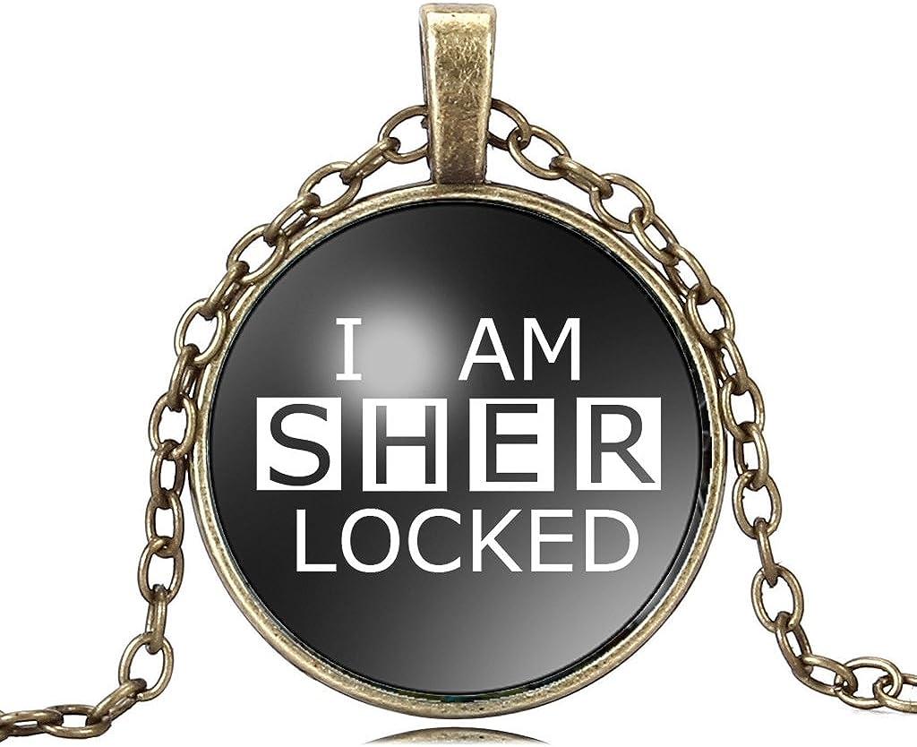 Joyplancraft I Am Sherlocked Glass Dome Necklace Detective Sherlock Inspired Necklace with Brass Chain
