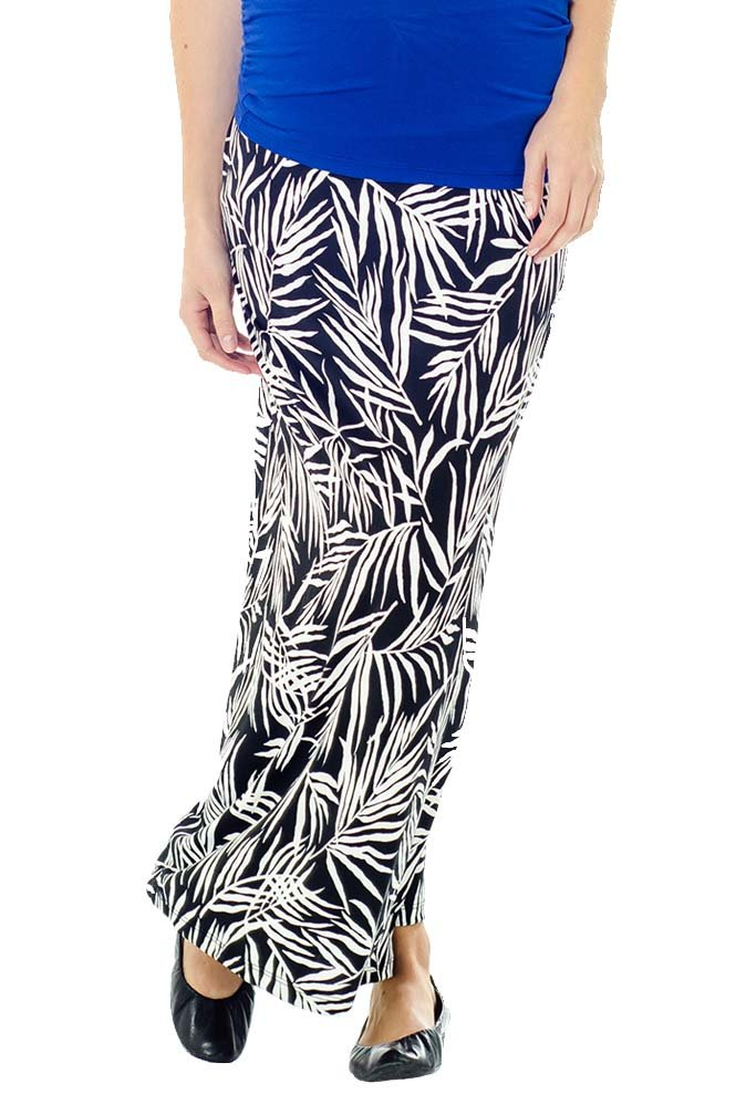 Lilac Striped Maternity Maxi Skirt - Black/White Leaf - Medium