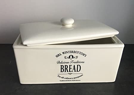 Mrs Winterbottom S Ceramic Bread Box Xl Pot For Fruits Vegetables Toast Amazon Co Uk Kitchen Home