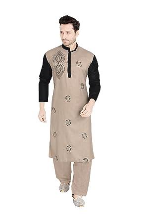 d9e0cb83c83ff Amazon.com  Da Facioun Mens Kurta Pajama Wedding Light Brown Indian Party  Wear Set of 2.  Clothing