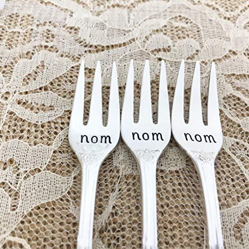 Set of 3: nom, nom, nom appetizer fork, vintage silverplated mini forks by Lorelei Vella-
