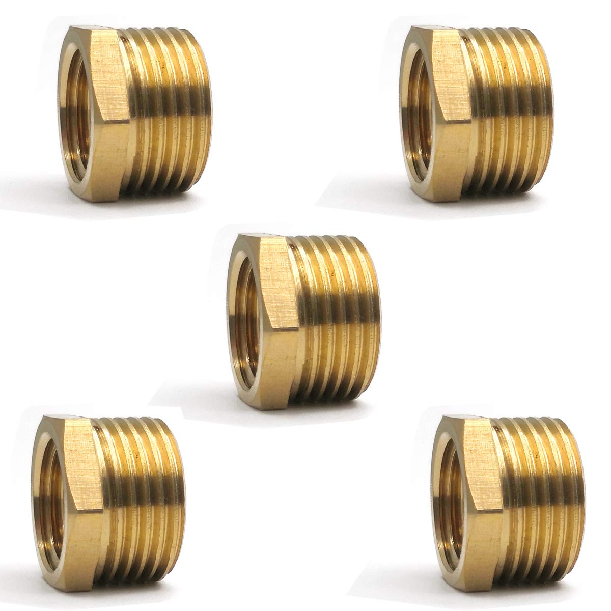 ZLYY Reducing Hex Bushing 3//8 NPT Male x 1//4 NPT Female Air Hose Adapter Brass Fitting 5 Pack