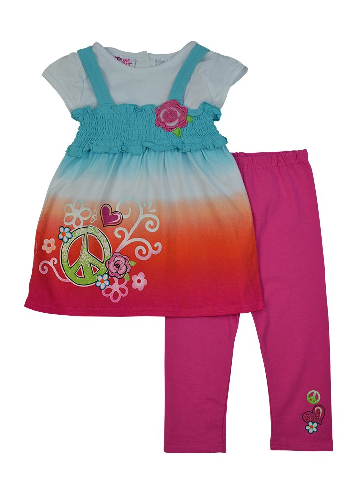 Alfa Global Little Girls' Short Sleeved Tie Dye Dress and Leggings 2 pcs. 6T