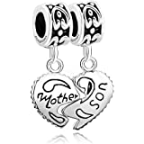 CharmsStory Sterling Silver Heart Mom Mother & Son Family Charm Dangle Beads Charms For Bracelets