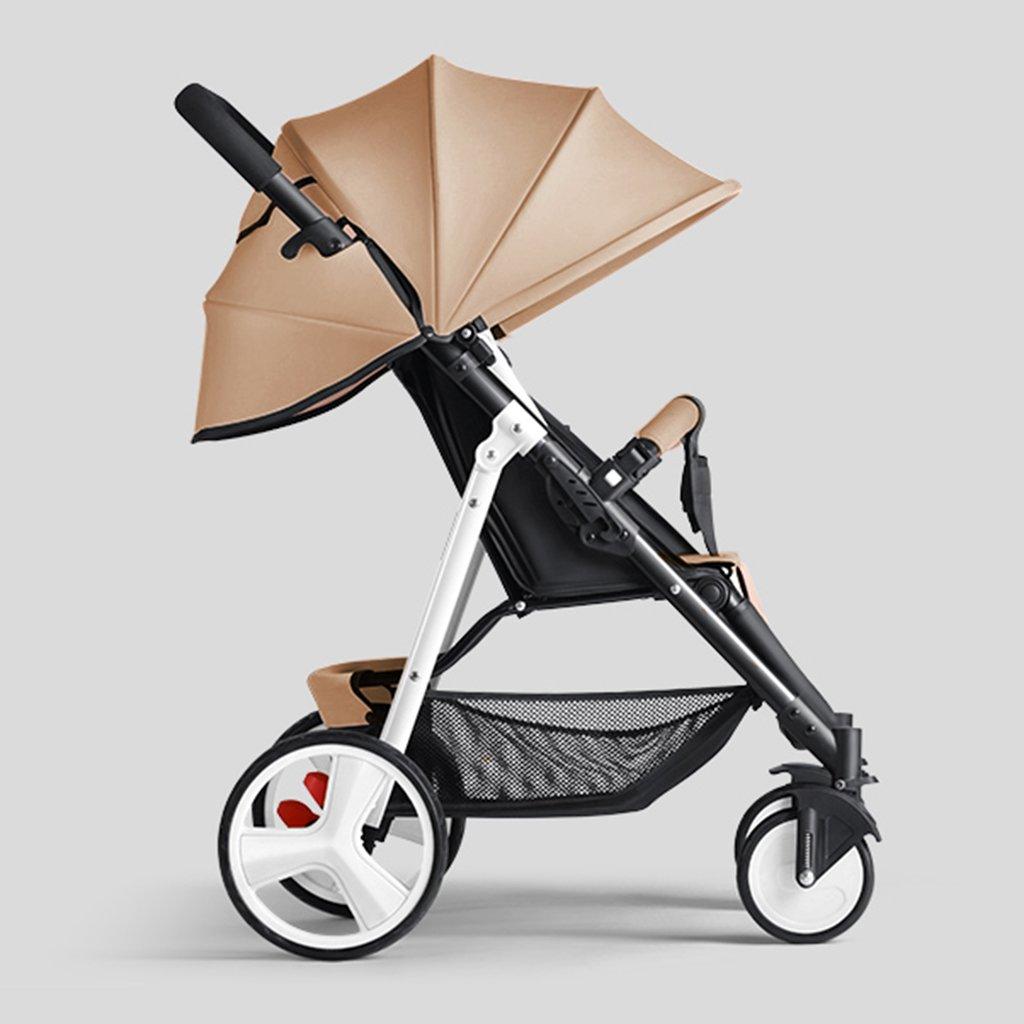 HAIZHEN マウンテンバイク ベビーカートは座ることができる/折りたたみ式の携帯用トロリー白いスチールフレーム調整サンシェード日除けアンチUVベビーキャリッジ 新生児 B07DLCYR49カーキ