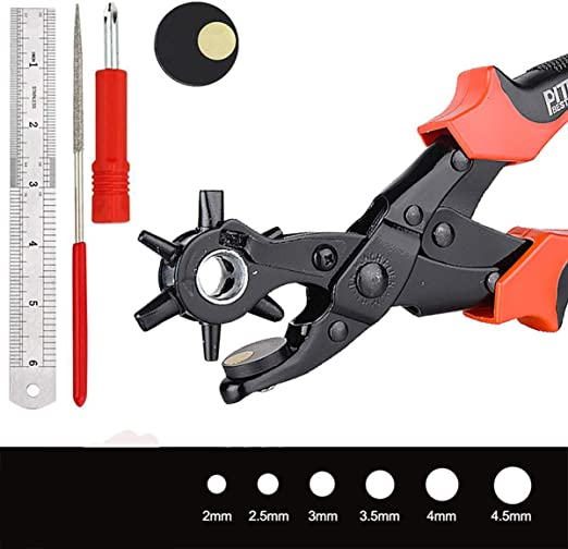 Profi Revolver-Lochzange mit Hebelübersetzung Gürtel PVC Kunststoffe