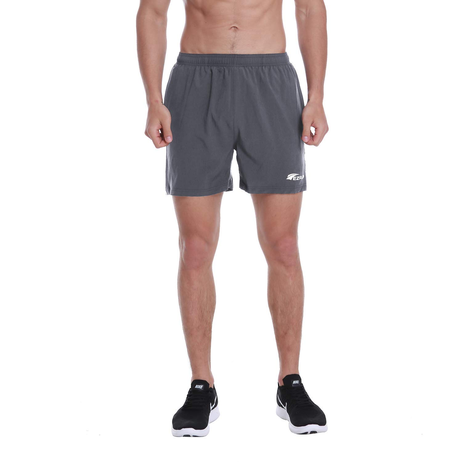 EZRUN Men's 5 Inches Running Workout Shorts Quick Dry Lightweight Athletic Shorts with Liner Zipper Pockets,Grey,L by EZRUN