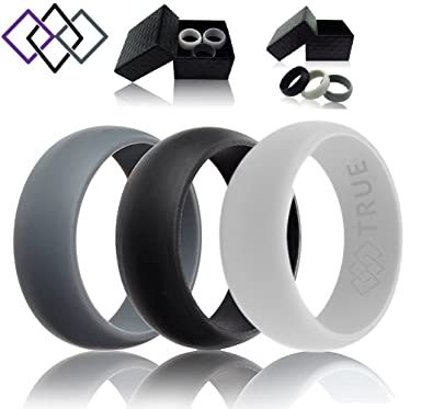Amazoncom TRUE Silicone Wedding Rings 3 Pack Designed for Men