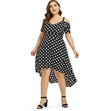 2d7ab1313f CharMma Women s Plus Size Cold Shoulder Polka Dot Print High Low Hem Dress  at Amazon Women s Clothing store