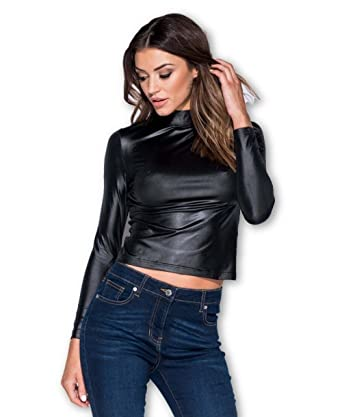 df6cc66f39 black wet look PU pvc faux leather high turtle neck long sleeve blouse top  6-12 (6)  Amazon.co.uk  Clothing