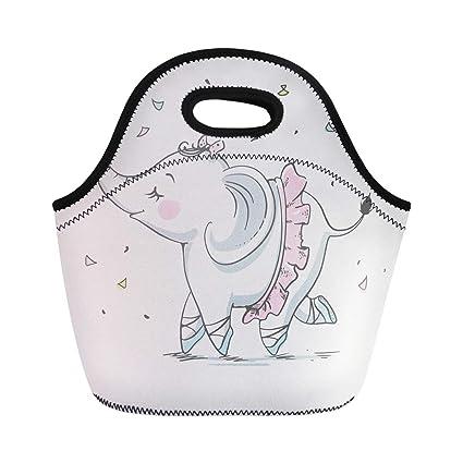 2b3aaeee6616 Amazon.com: Semtomn Lunch Tote Bag Girl Cute Elephant Ballerina ...