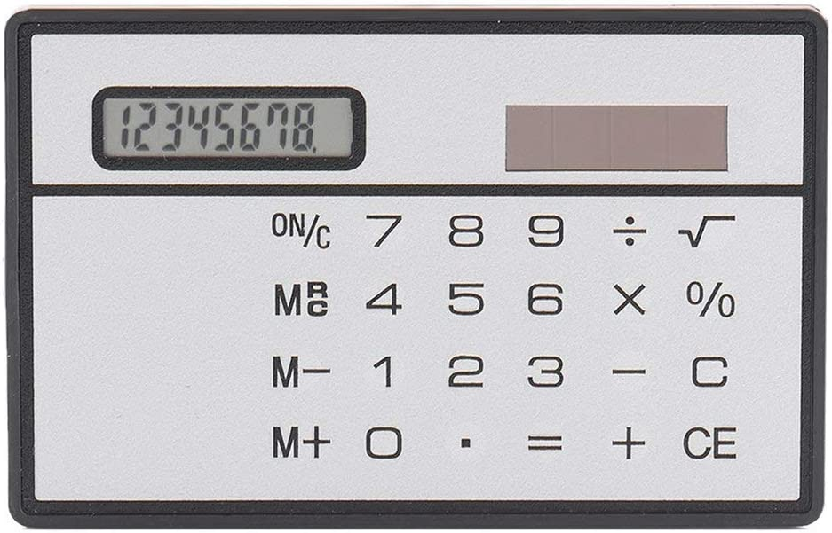 itchoate 8 Digit Ultra Thin Solar Power Calculator with Touch Screen Credit Card Design Portable Mini Calculator for Business School Silver