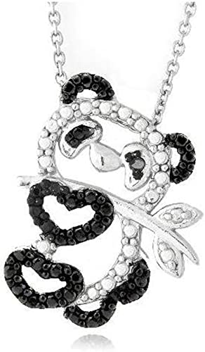 Glitzs Jewels Sterling Silver Black Simulated Diamond Accent Dangling Double Oval Necklace 18