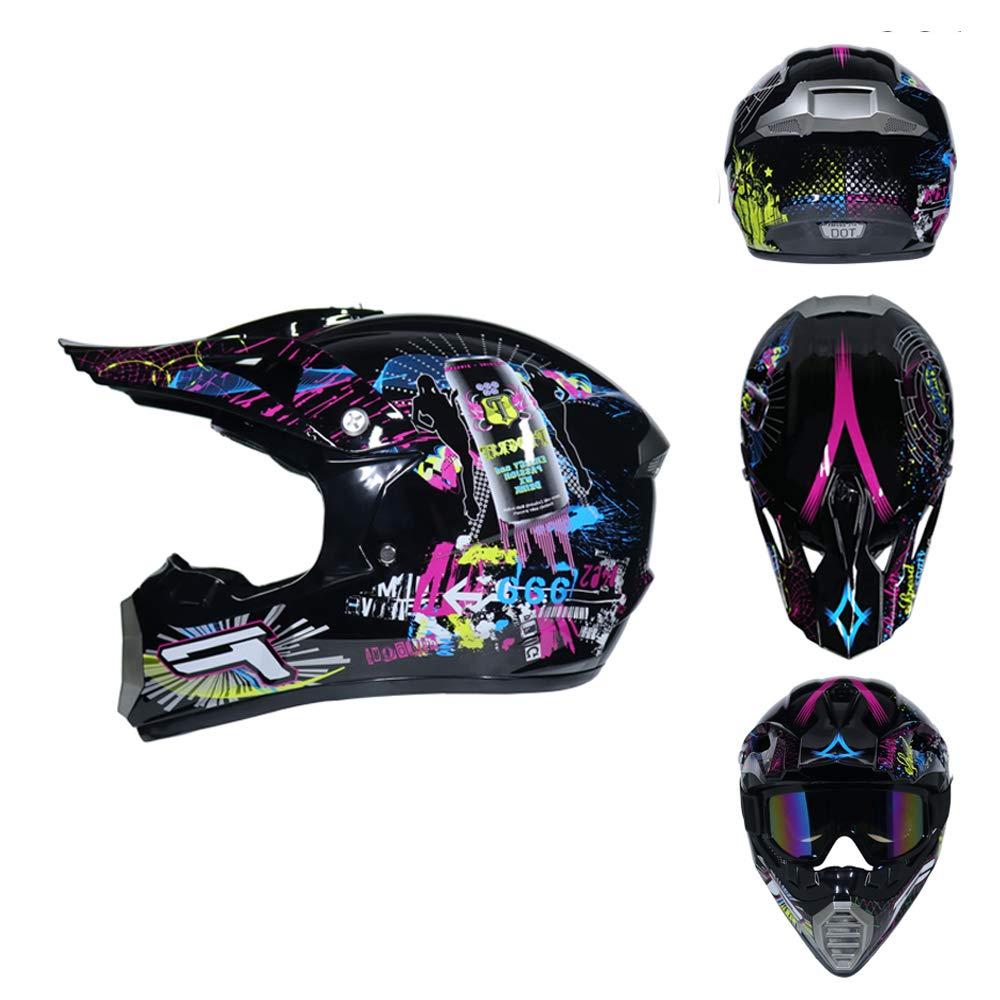 Full face Motocross Helm Sport Adventure Racing Motorrad-Helm Motocross Schutzhelm MTB Schutz Sicherheit Helm mit Handschuhe Maske Brille QYTK/® S/érie MT-514 Motorradhelm