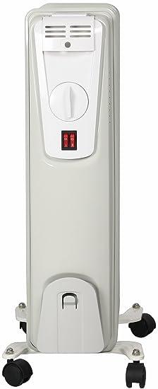 Radiador eléctrico El Fuego® portátil de aceite/eléctrico con 7 elementos, 1500 W, termostato, protección antivuelco y protección contra sobrecalentamiento, ...