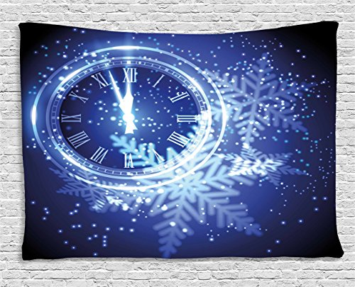 Ambesonne Clock Decor Tapestry, Countdown to New Year Theme A Clock Holiday Lights and Snowflakes Pattern Design, Wall Hanging for Bedroom Living Room Dorm, 80 W X 60 L Inches, Blue