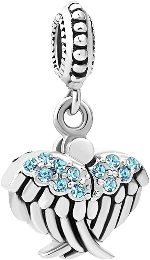 espoir Compatible avec les bracelet /à breloques europ/éens Sug Jasmin Breloque Ailes dange ouvertes/avec perle pendante en forme d/'/étoile marqu/ée /'/'hope/'/'