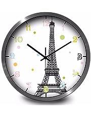 Torre Eiffel redonda metálica sencilla,reloj de pared Reloj de cuarzo de marco color plata,niño mudo reloj decoración números arábigos.