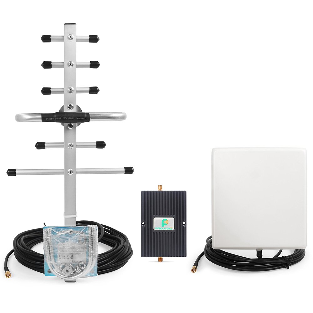 65dB Dual Band 850MHz 1900MHz Mobile Phone Signal Booster Repeater Amplifier with Indoor Directional Panel and Outdoor Yagi Antenna Protone Ltd.