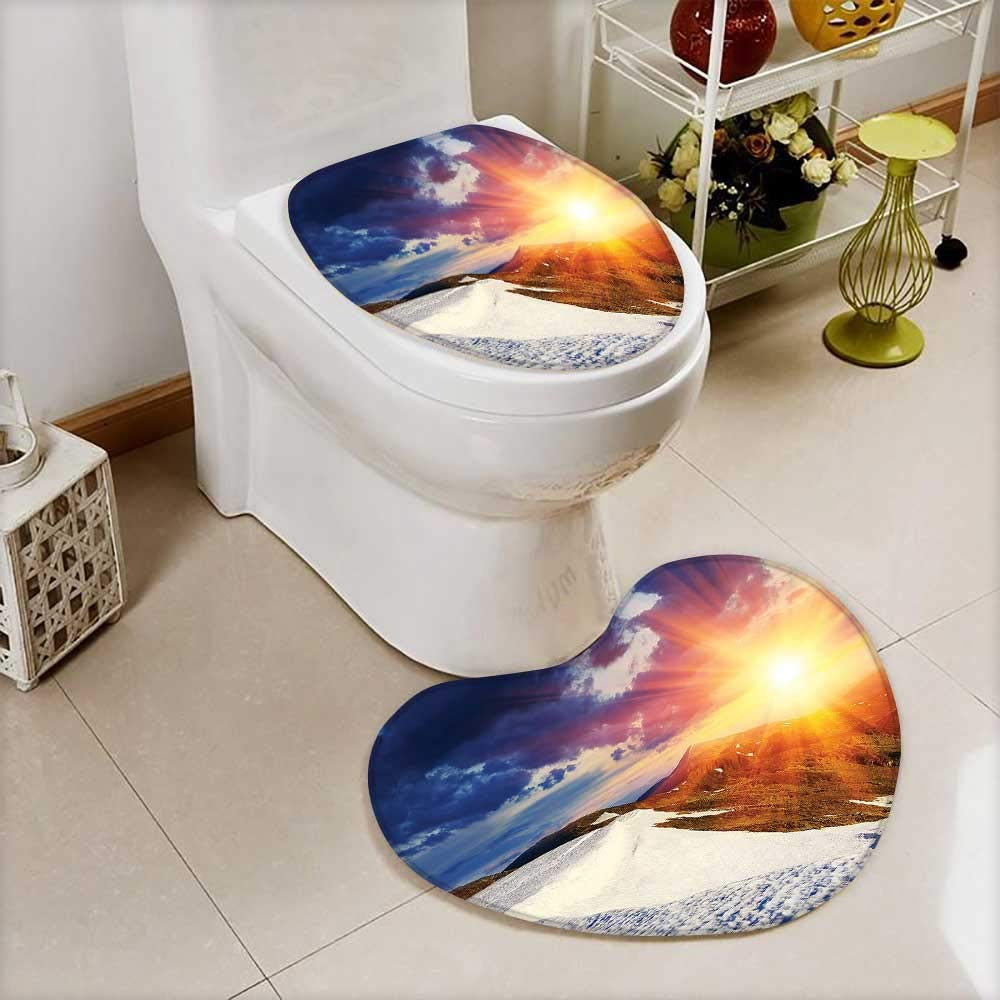 L-QN 2 Piece Anti-Slip Toilet mat Sunshine Clouds Nature Mountain Valley Sun Divider in College Landscape Home White Anti-Slip Water Absorption