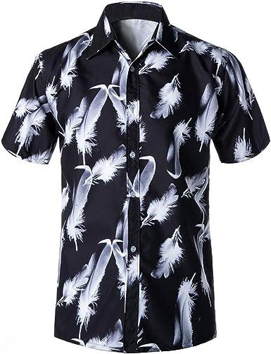 Amasells - Camiseta de Manga Corta para Hombre con Estampado de Plumas, Talla L ~ 4XL Negro Negro (4XL: Amazon.es: Ropa y accesorios
