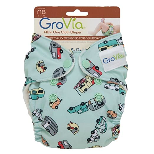 Image: GroVia Newborn AIO hemp/cotton diaper - Adventure - designed to specifically meet the needs of newborn babies. Trim fit, soft materials, easy use! Top-selling diapers for the tiniest bundles!