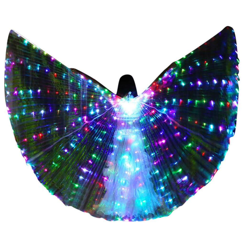 FEDULK Womens LED Wings Belly Dance Performance Costumes Colorful Butterflies Wings with Telescopic Stick(C)